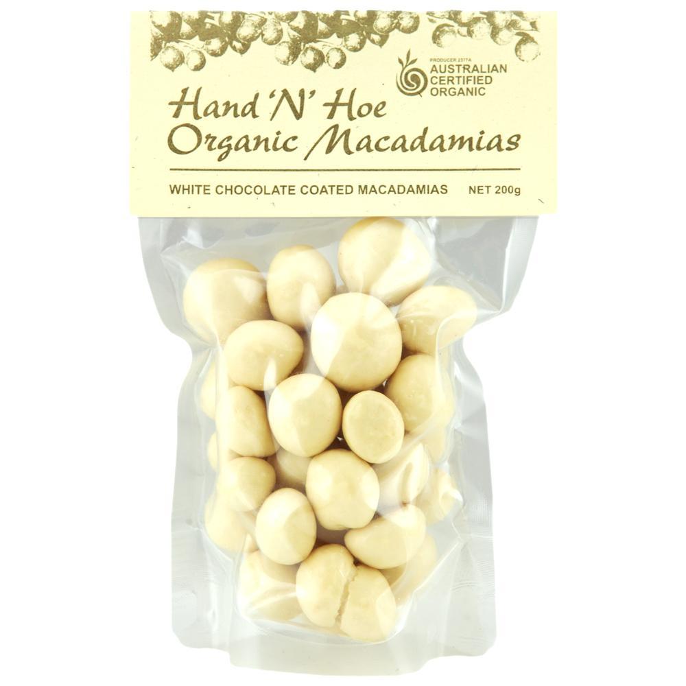 Organic Macadamia Nuts, White Chocolate Coated